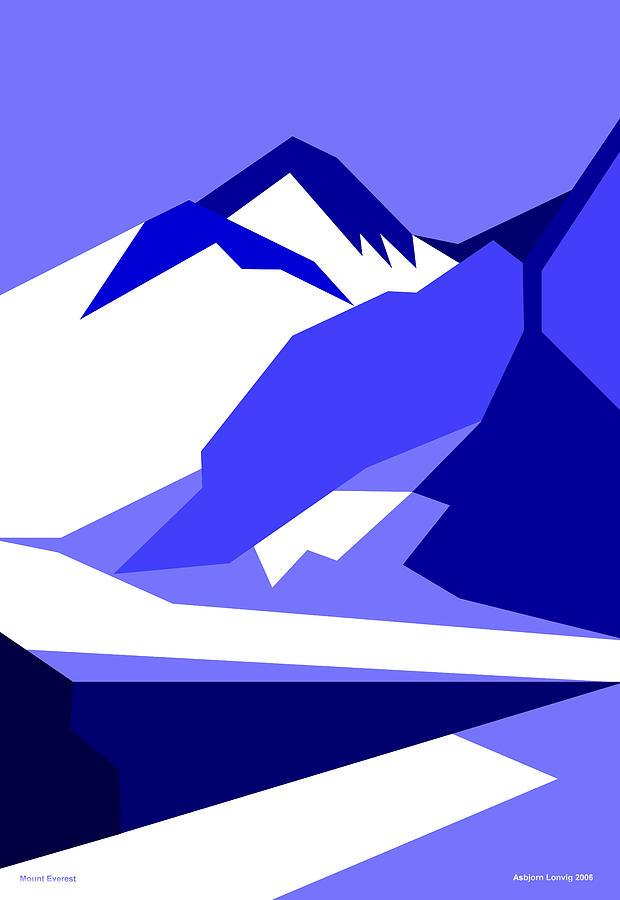 Everest Digital Art - Everest Blue by Asbjorn Lonvig