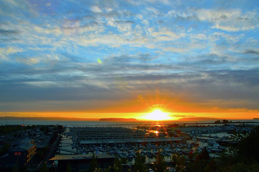 Everett Marina Sunset Photograph by Brian OKelly