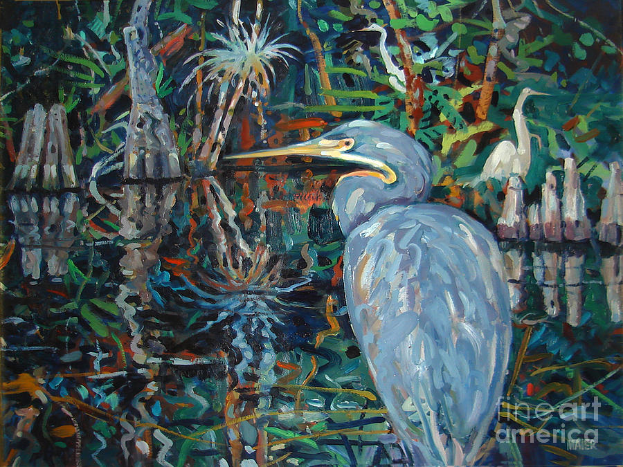 White Egret Painting - Everglades by Donald Maier