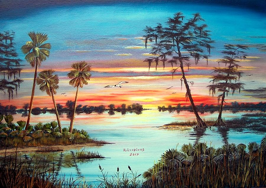 Bird Painting - Everglades Sunset by Riley Geddings