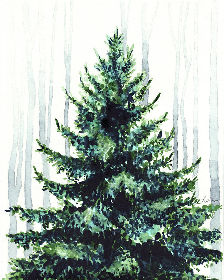 Watercolour Christmas Tree: Evergreen Tree In Winter Woods Watercolor Painting