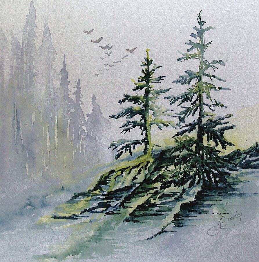 evergreens in the mist painting by joanne smoley