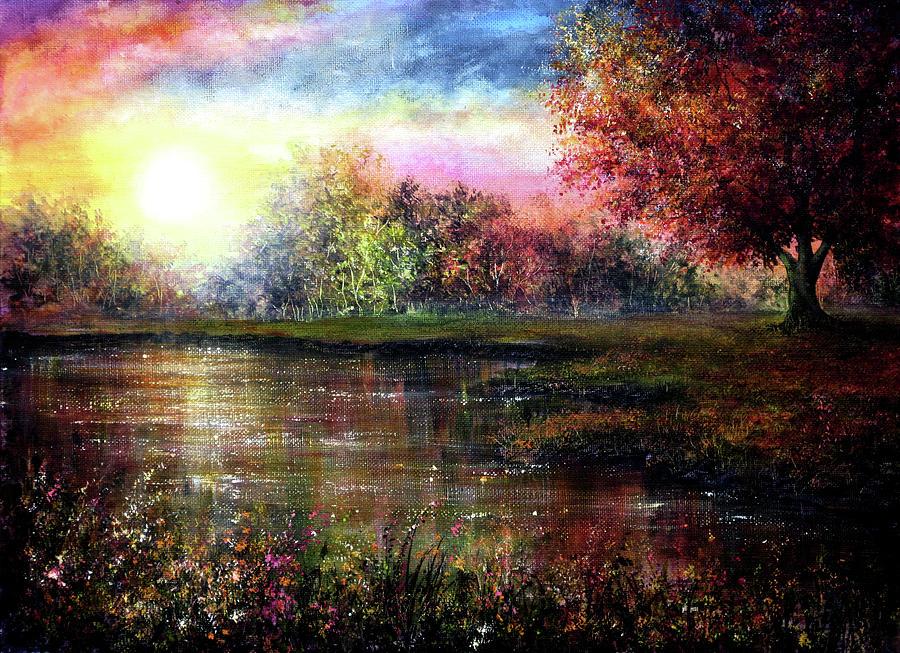 Birches Painting - Everlasting Love by Ann Marie Bone