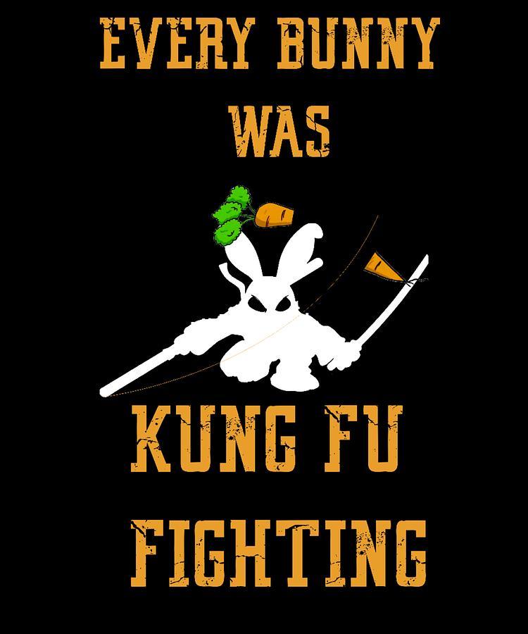 d8c71131 Bunny Digital Art - every bunny was kung fu Fighting Fun Easter Bunny Shirt  by Orange