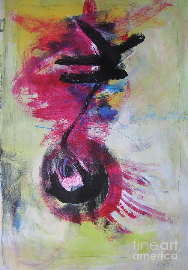 Acrylic Paintings Painting - Everything A Mistake-abstract Red Painting by Seon-Jeong Kim