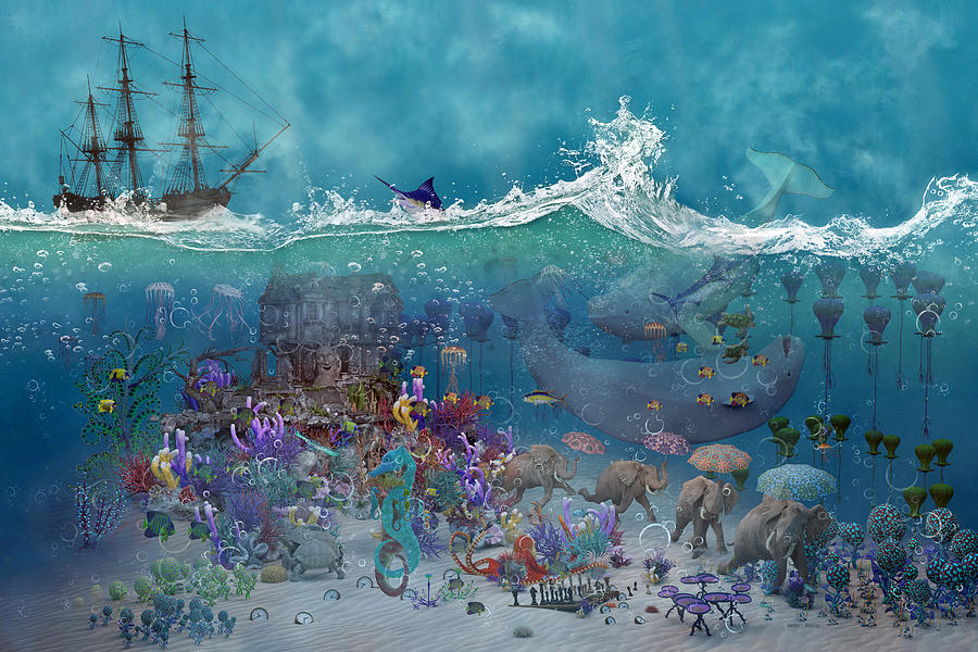 3d Digital Art - Everything Under The Sea by Betsy Knapp