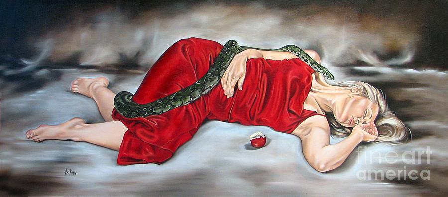 Biblical Painting - Eves Temptation - Death by Ilse Kleyn