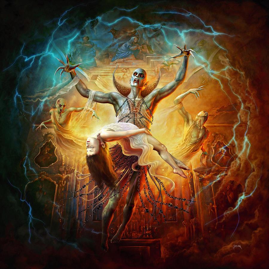 God Digital Art - Evil God by Uwe Jarling