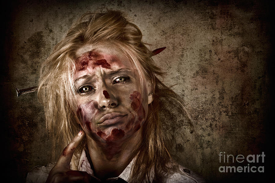 Apparition Photograph - Evil Grunge Zombie Business Woman Thinking Idea by Jorgo Photography - Wall Art Gallery