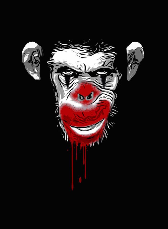 Monkey Digital Art - Evil Monkey Clown by Nicklas Gustafsson