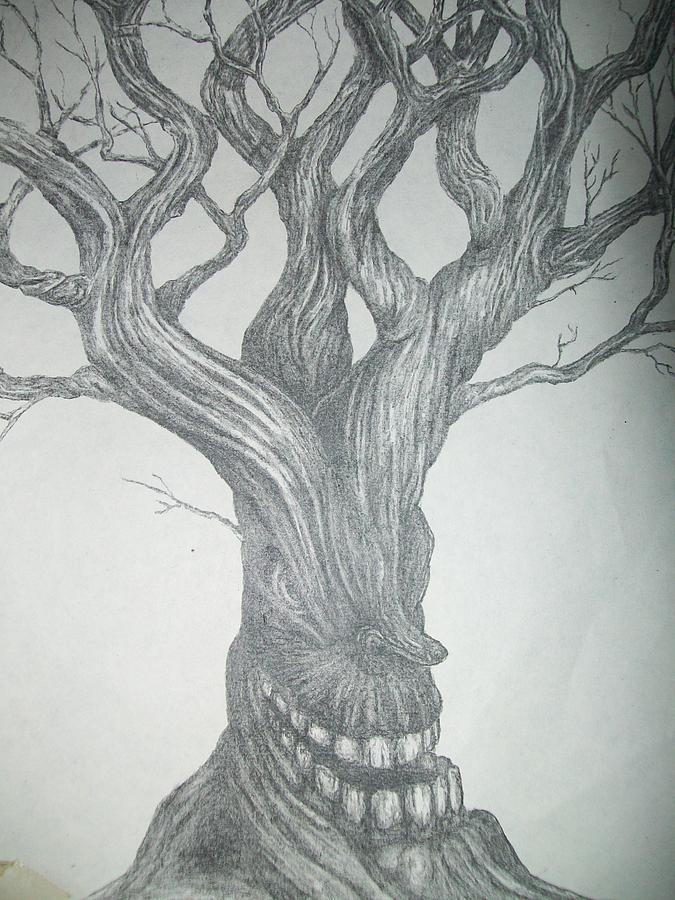 Portrait Drawing - Evil Tree by Neil Hugley