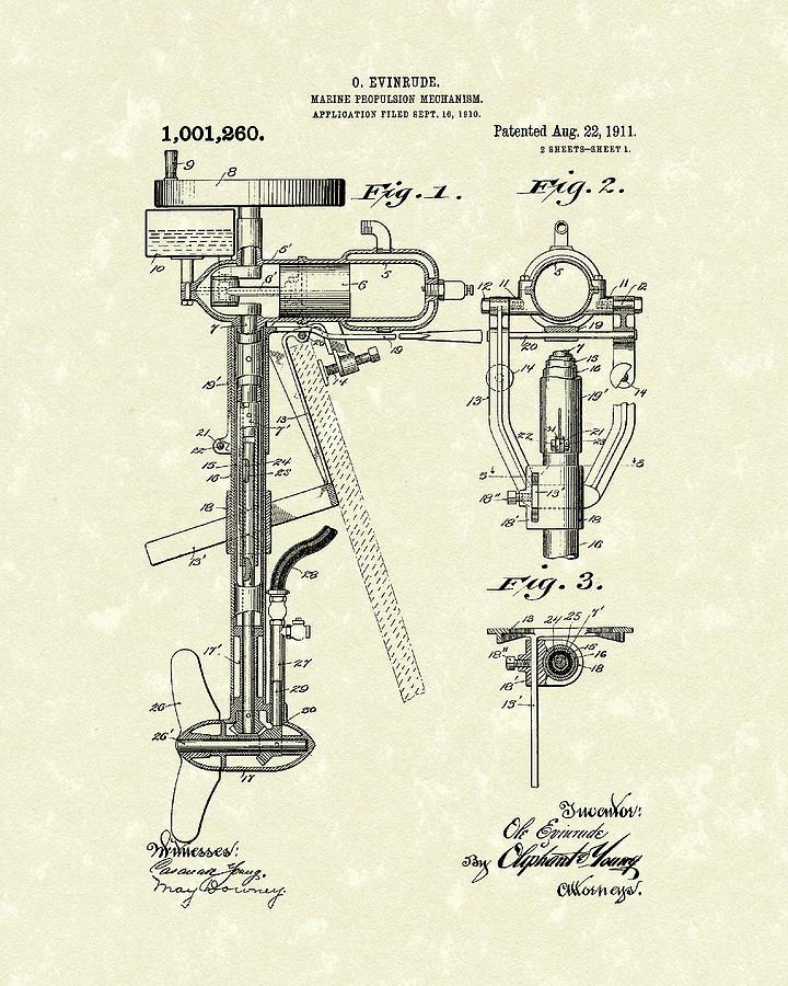 Evinrude Drawing - Evinrude Boat Motor 1911 Patent Art by Prior Art Design
