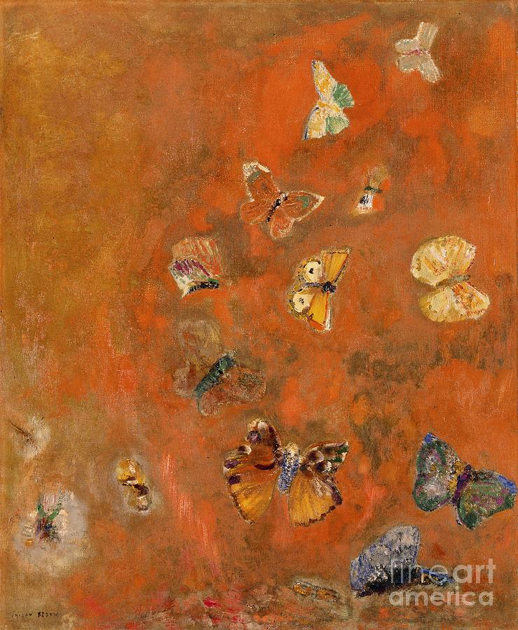 Evocation Of Butterflies Painting by Odilon Redon