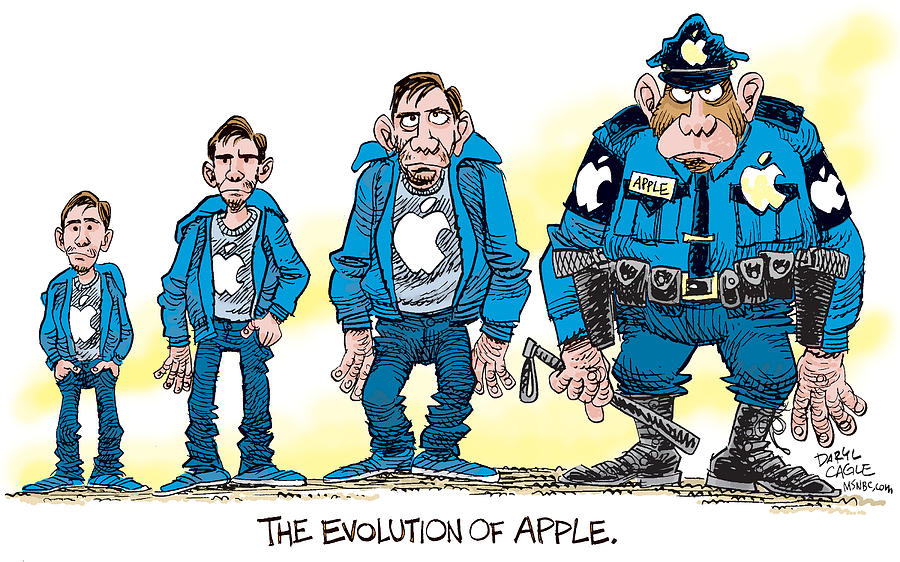 Justin Long Drawing - Evolution Of Apple by Daryl Cagle