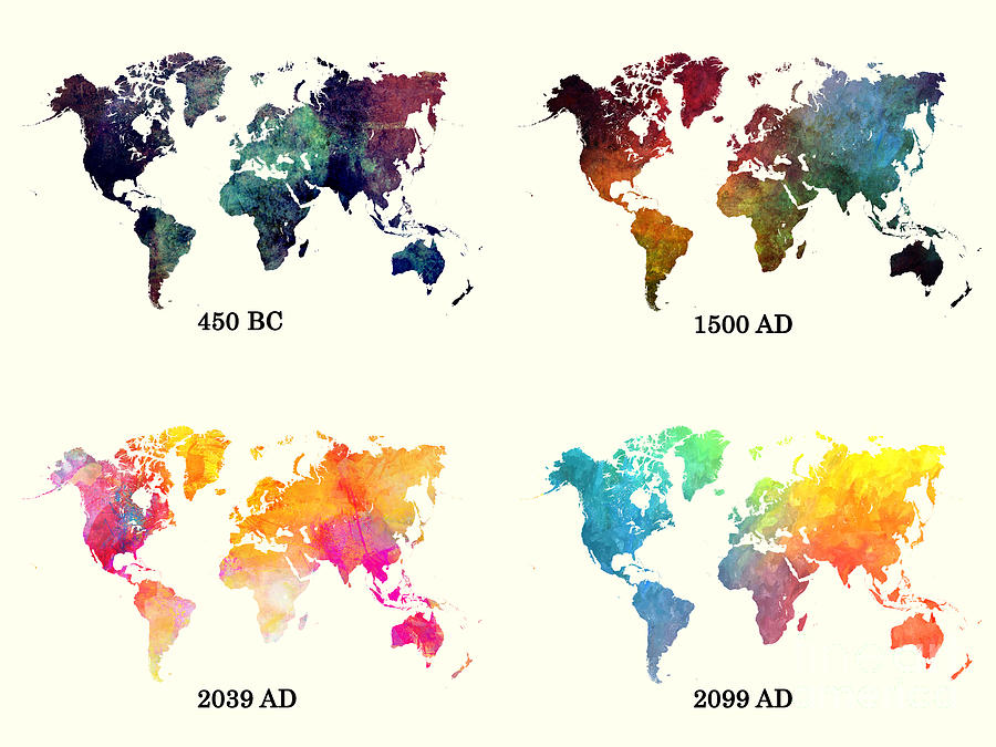 Evolution Of The World Map Digital Art by Justyna JBJart