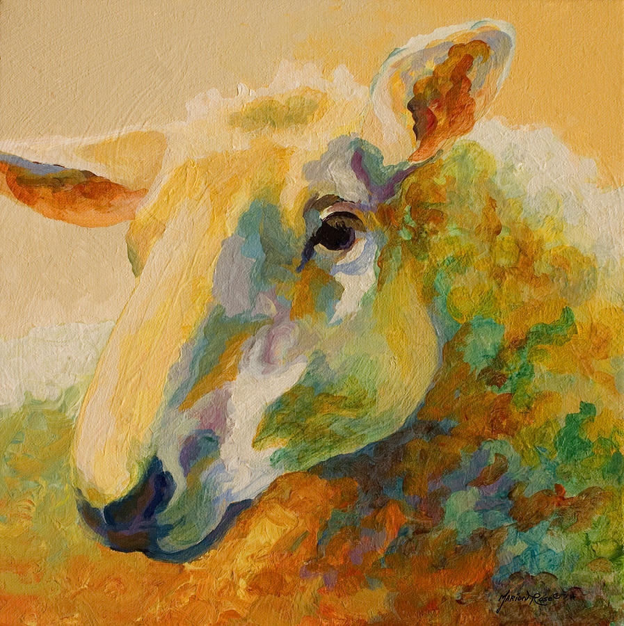 Llama Painting - Ewe Portrait IIi by Marion Rose