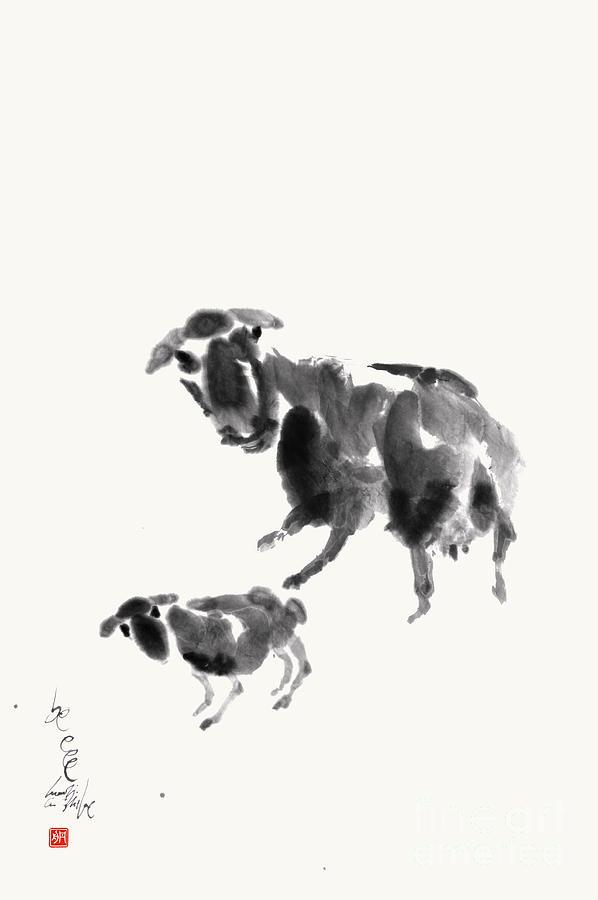 Sheep Painting - Ewe With Lamb  by Nadja Van Ghelue