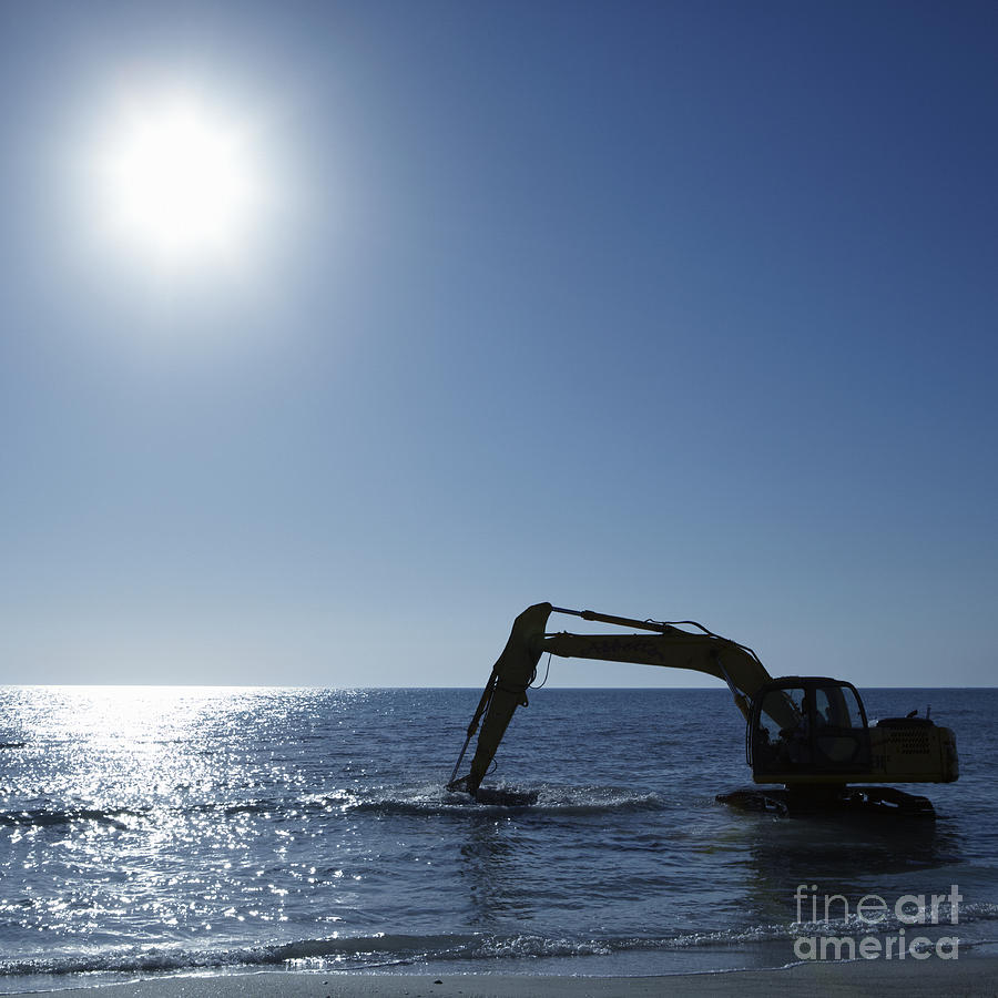 Beach Photograph - Excavator Digging In The Ocean by Skip Nall