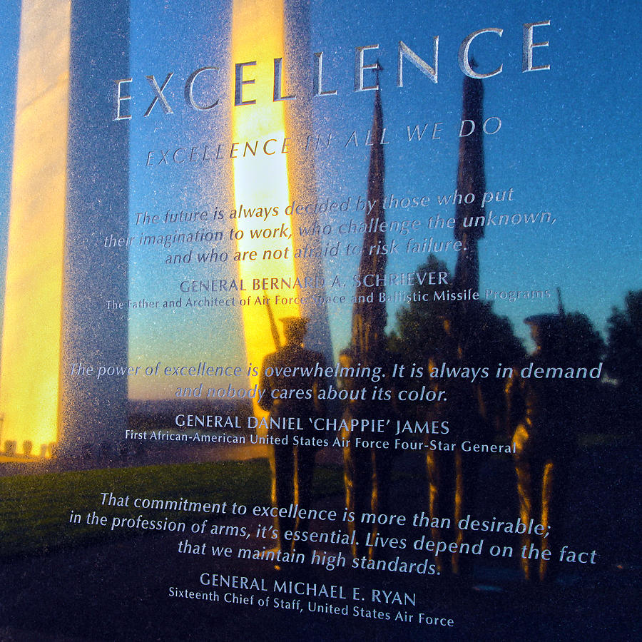 Air Force Memorial Photograph - Excellence by Mitch Cat
