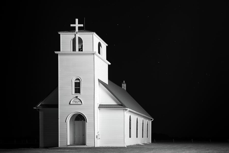 Church Photograph - Excelsior - 3324 BW by Jon Friesen