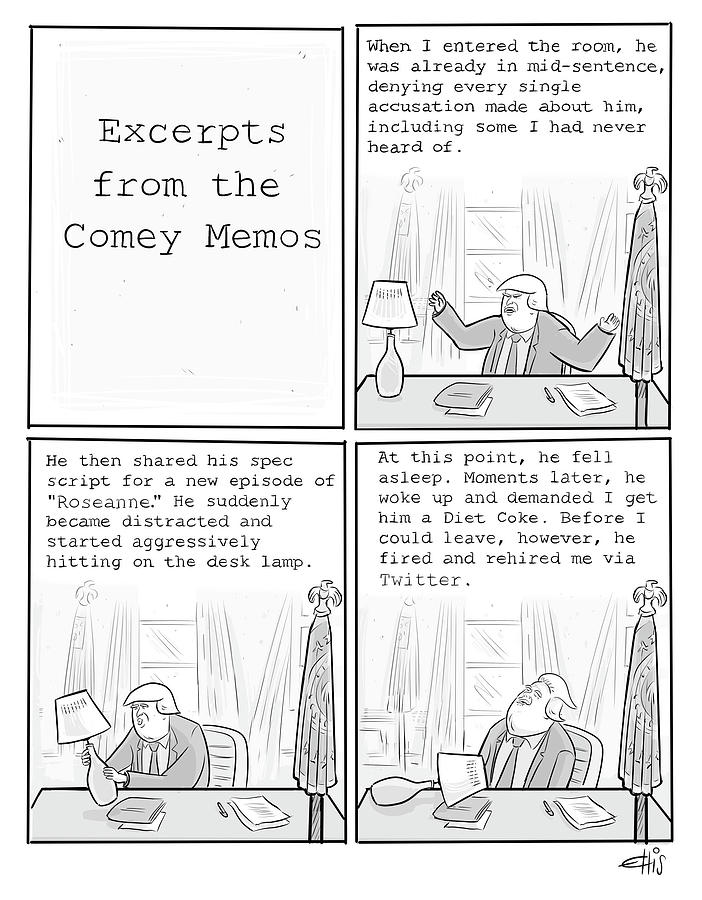 Excerpts From The Comey Memos Drawing by Ellis Rosen