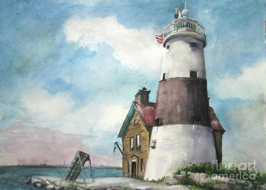 Execution Rocks Lighthouse Painting - Execution Rocks Lighthouse by Susan Herbst