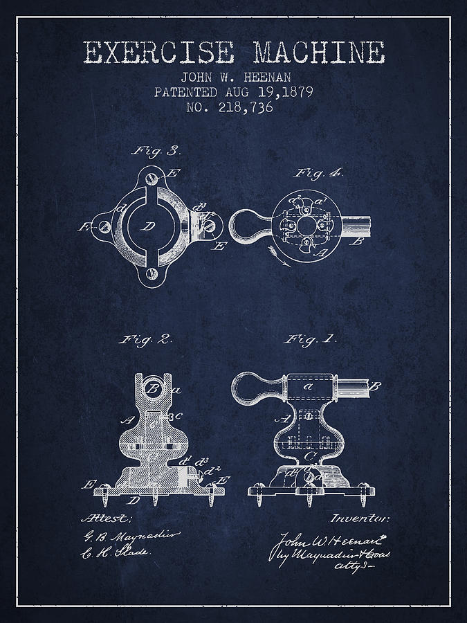 Exercise Digital Art - Exercise Machine Patent From 1879 - Navy Blue by Aged Pixel