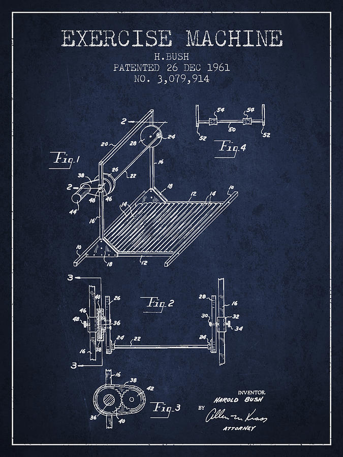 Exercise Digital Art - Exercise Machine Patent From 1961 - Navy Blue by Aged Pixel