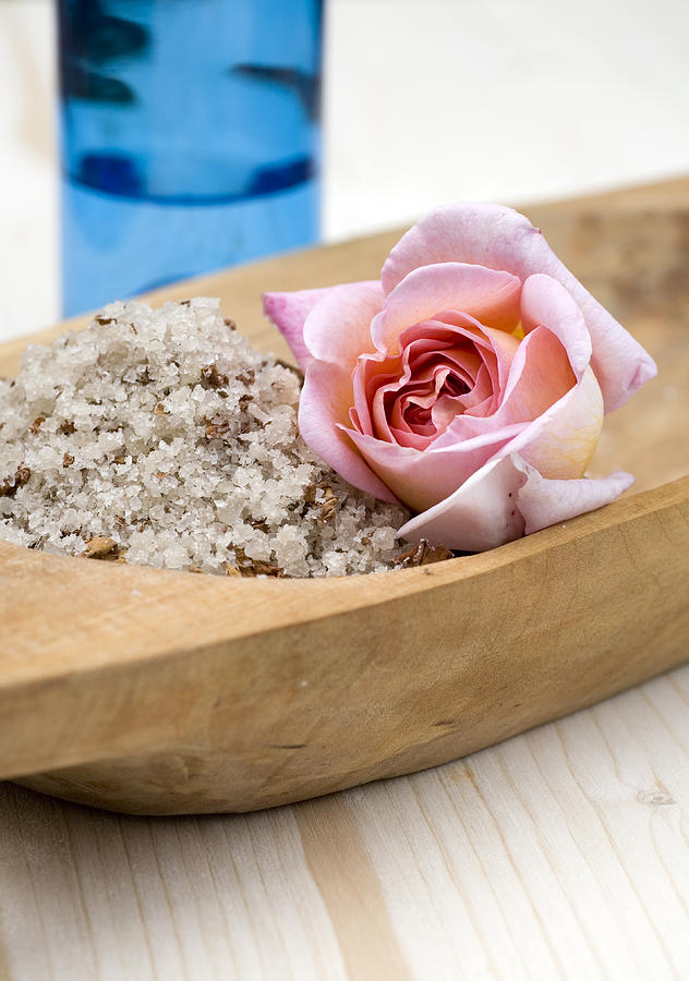 Spa Photograph - Exfoliating Body Scrub From Sea Salt And Rose Petals by Frank Tschakert