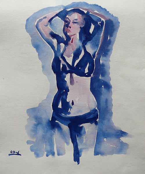 Water Colour Painting - Exiting The Pool by Abin Raj
