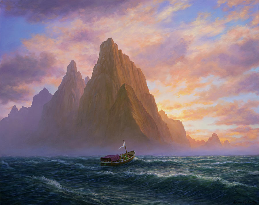 Landscape Painting - Small Irish Boat on Choppy Waters by Brian McCarthy