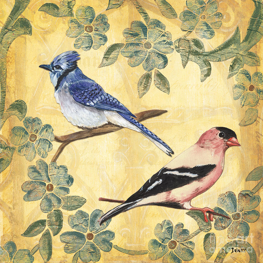 Birds Painting - Exotic Bird Floral and Vine 1 by Debbie DeWitt