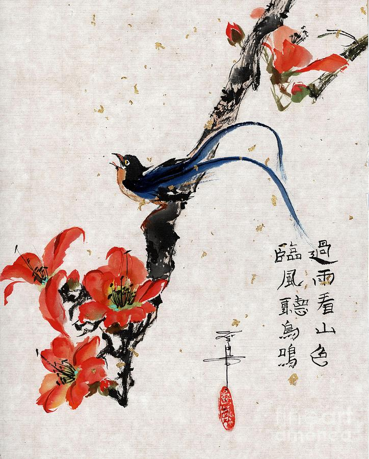 Exotic Bird Painting - Exotic Bird On Red Flowering Branch by Linda Smith