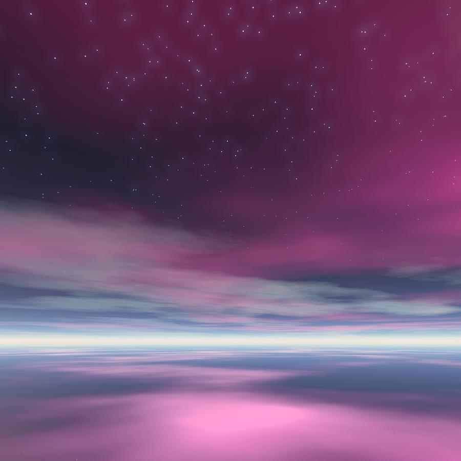 Sunset Digital Art - Expecting Meteor Shower by Taketo Takahashi
