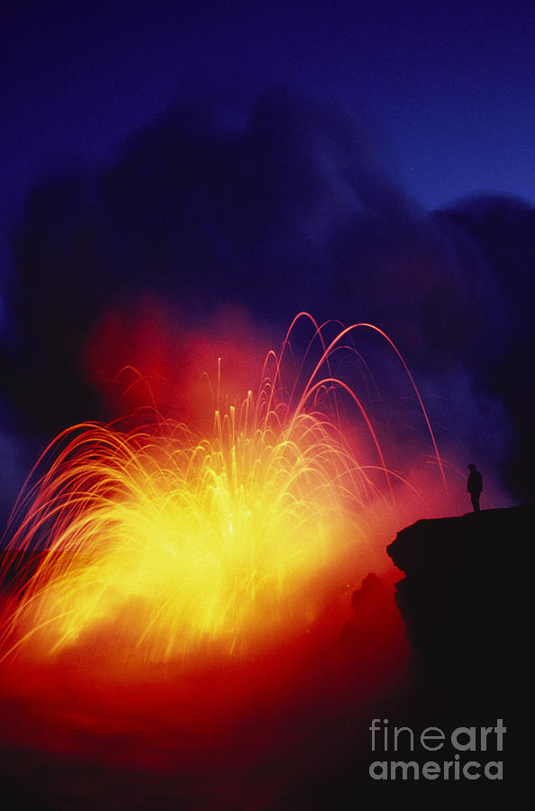 Amaze Photograph - Exploding Lava And Person by Greg Vaughn - Printscapes