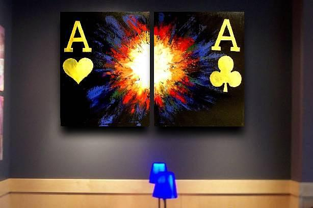 Flaming Painting - Exploding Pocket Aces by Teo Alfonso