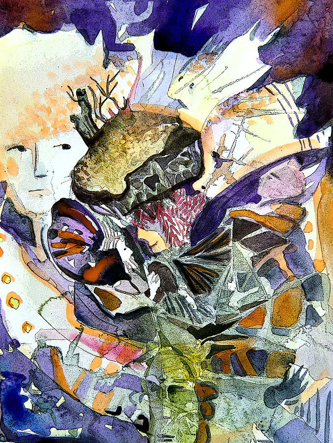 Watercolor Painting - Exploiding Nut by Mindy Newman