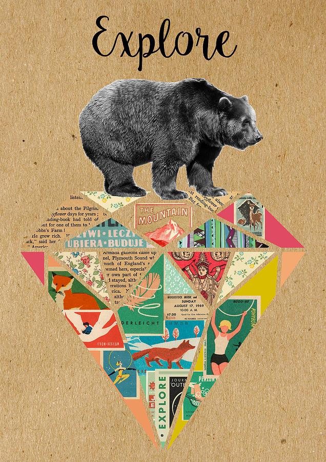 Explore Mixed Media - Explore Bear  by Claudia Schoen