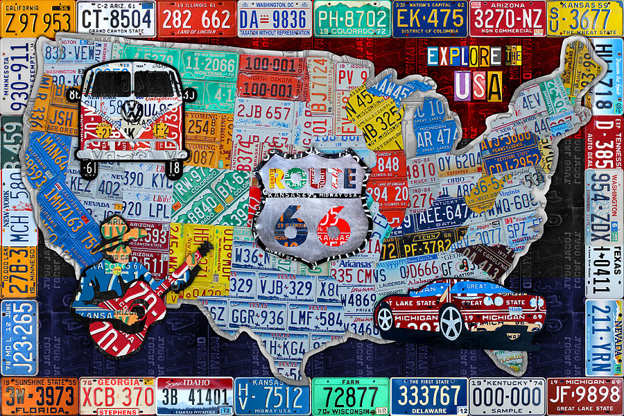 Explore The Usa License Plate Art And Map Travel Collage Mixed: Travel Usa Map At Infoasik.co