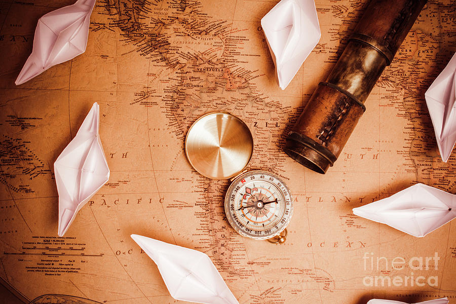 Travel Photograph - Explorer Desk With Compass, Map And Spyglass by Jorgo Photography - Wall Art Gallery