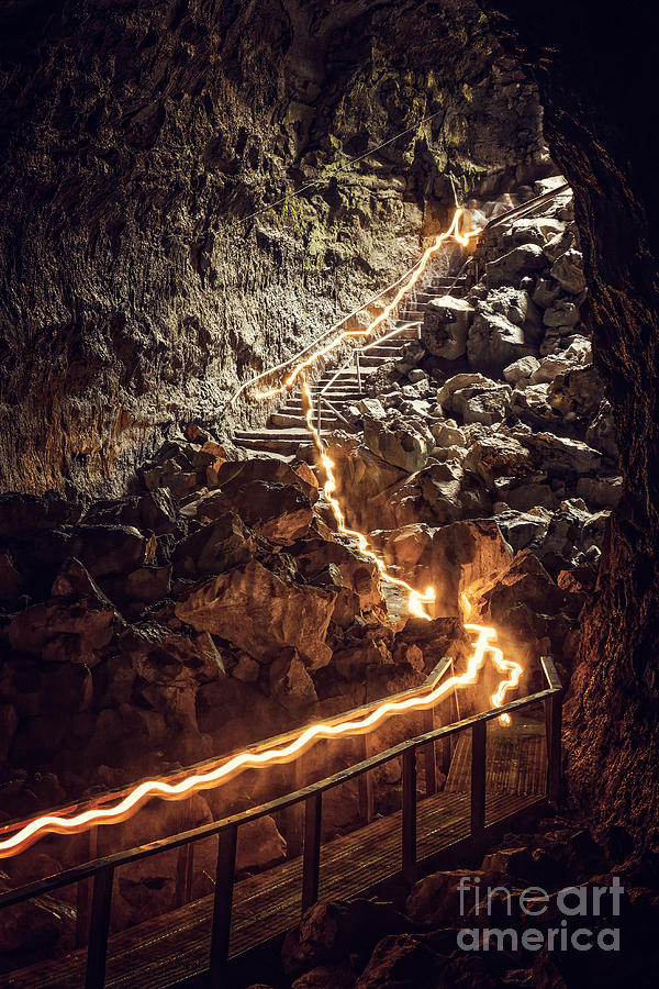 Exploring Lava Tube at Newberry National Volcanic Monument in Or by Bryan Mullennix
