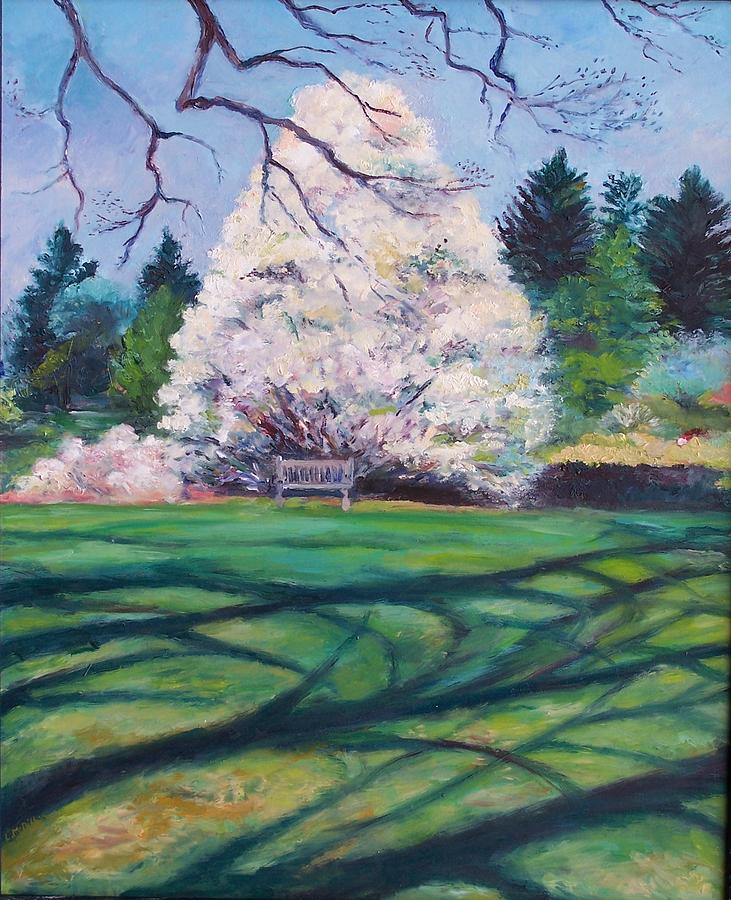 Winterthur Gardens Painting - Exploring The Shadows by Laura McMillan