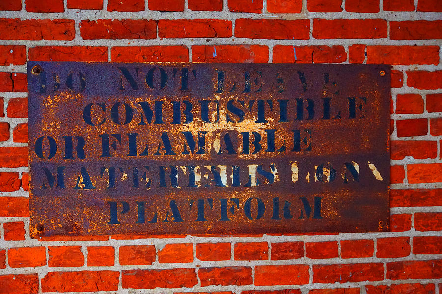Brick Photograph - Explosive Sign by William Hall