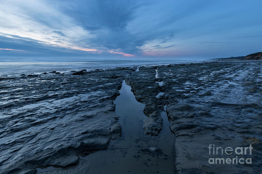 Ocean Photograph - Exposed Rocks Only During Winter by Masako Metz
