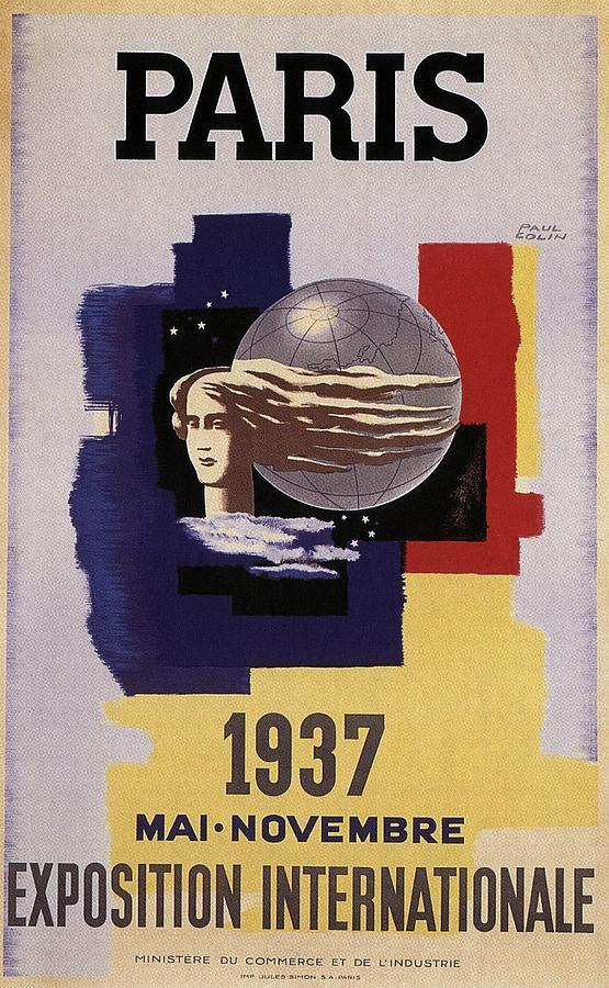 Exposition Internationale 1937, Paris - Retro Travel Poster - Vintage Poster Mixed Media
