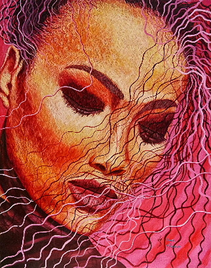 Painting Painting - Expression In Hair by Shahid Muqaddim