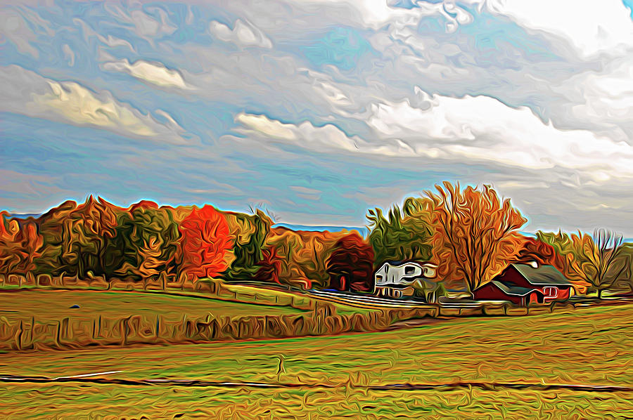 Country Photograph - Expressionalism Autumn Farm by Aimee L Maher ALM GALLERY