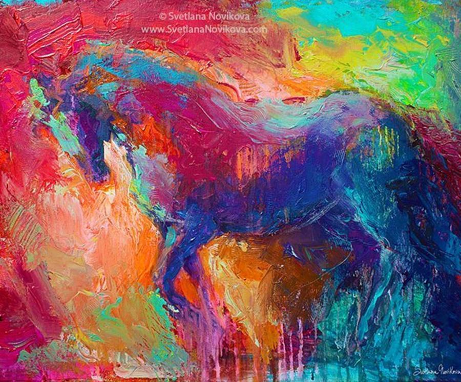 Impasto Photograph - Expressive Stallion Painting By by Svetlana Novikova