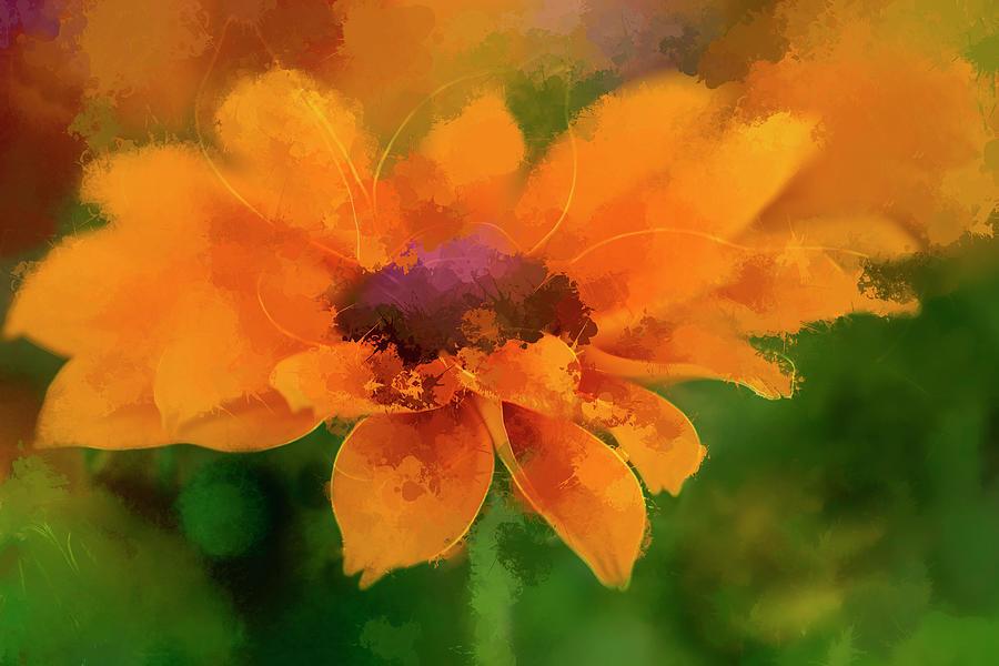 Sunflower Digital Art - Expressive Sunflower by Terry Davis