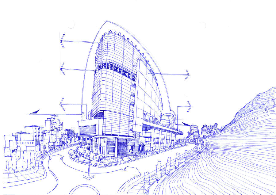 Exterior Sketch Of A Shopping Mall Drawing By Soran Shangapour